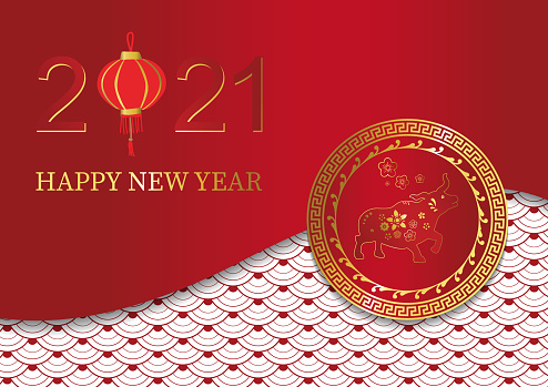 Gold red Chinese card with ex,pattern.Happy new year 2021