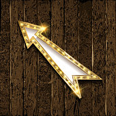 Gold Retro arrow with lights.