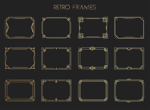 Gold retro frames. Style of 1920s. Collection of golden premium promo seals/stickers. Gold retro frames. Style of 1920s. Collection of golden premium promo seals/stickers. geographical border stock illustrations