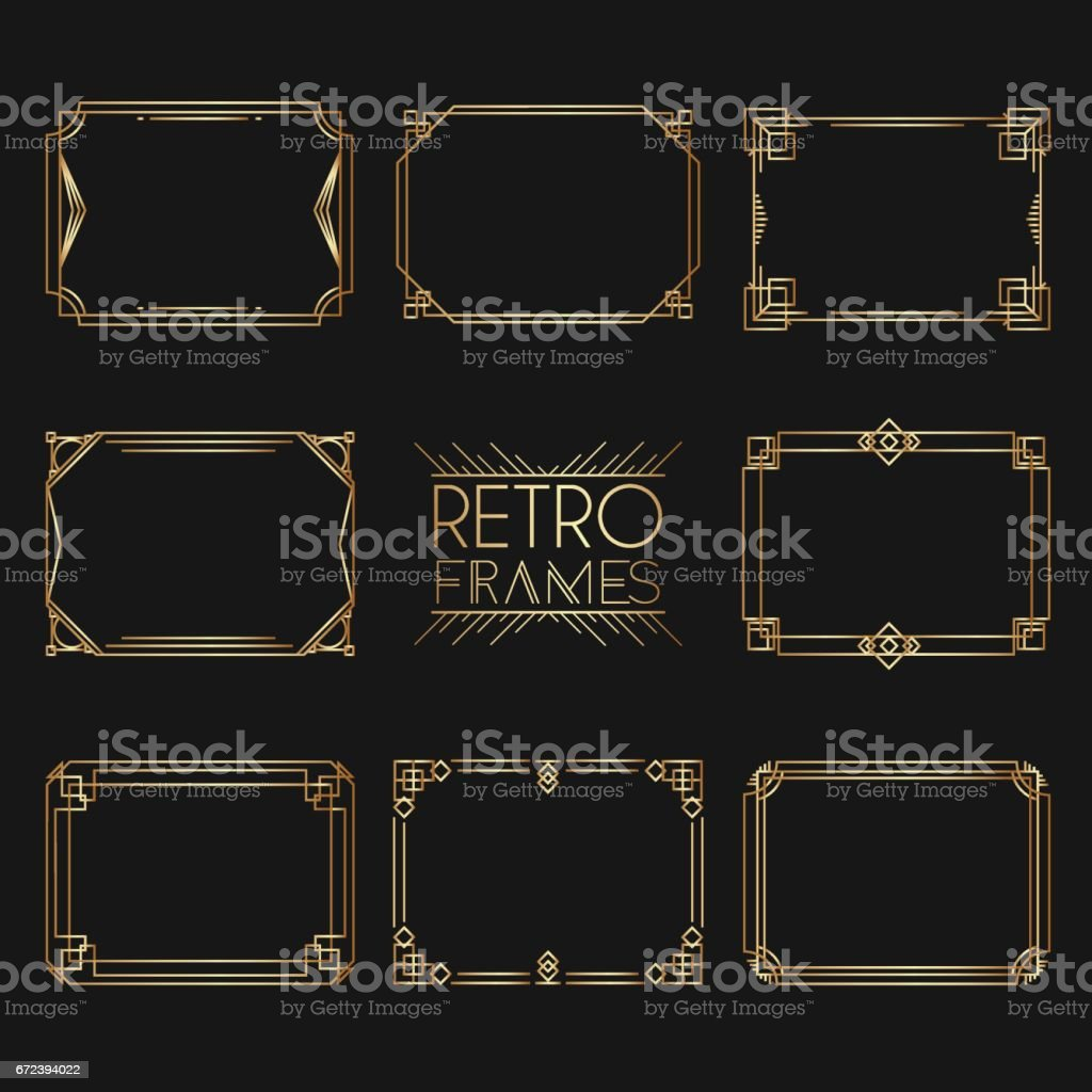 Gold retro frames. Style of 1920s. Collection of golden premium promo seals/stickers. vector art illustration