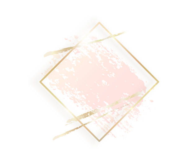 Gold rhombus frame with pastel nude pink texture, shadow, golden brush strokes isolated on white background. Geometric rectangular shape border in golden foil for cosmetics, beauty, makeup template vector art illustration