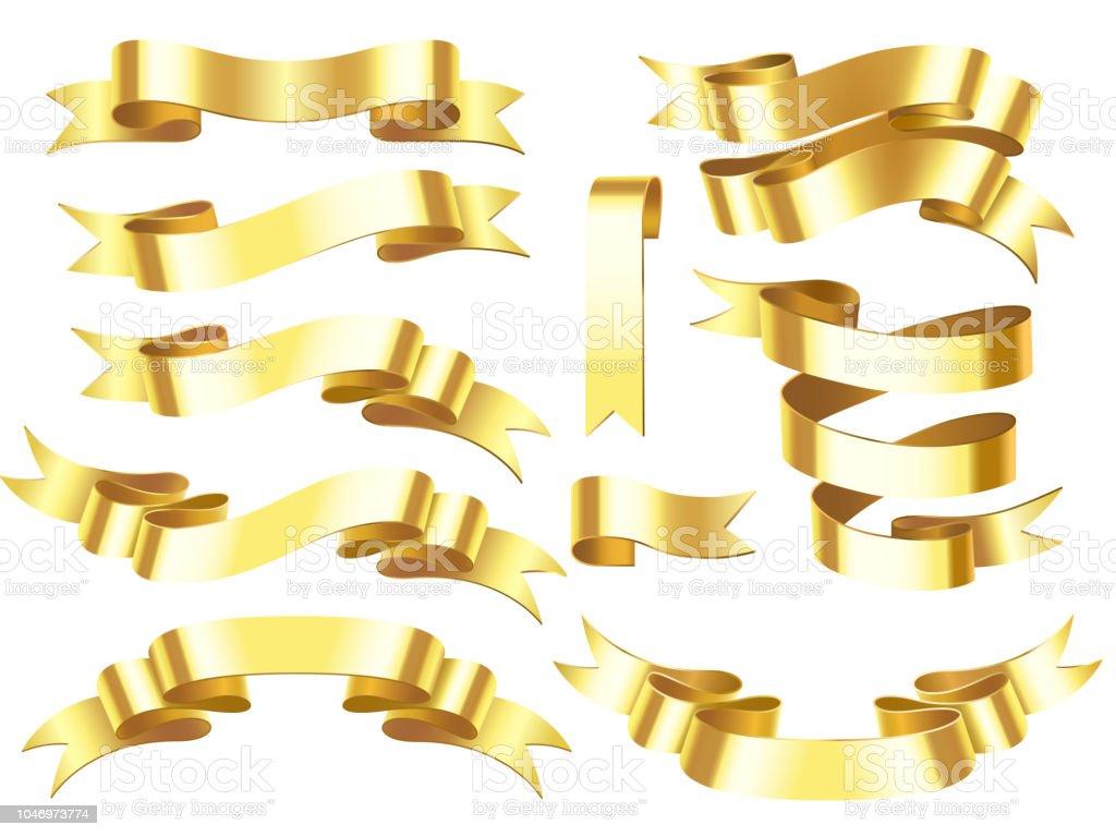 gold ribbon banner golden award or celebration horizontal ribbons