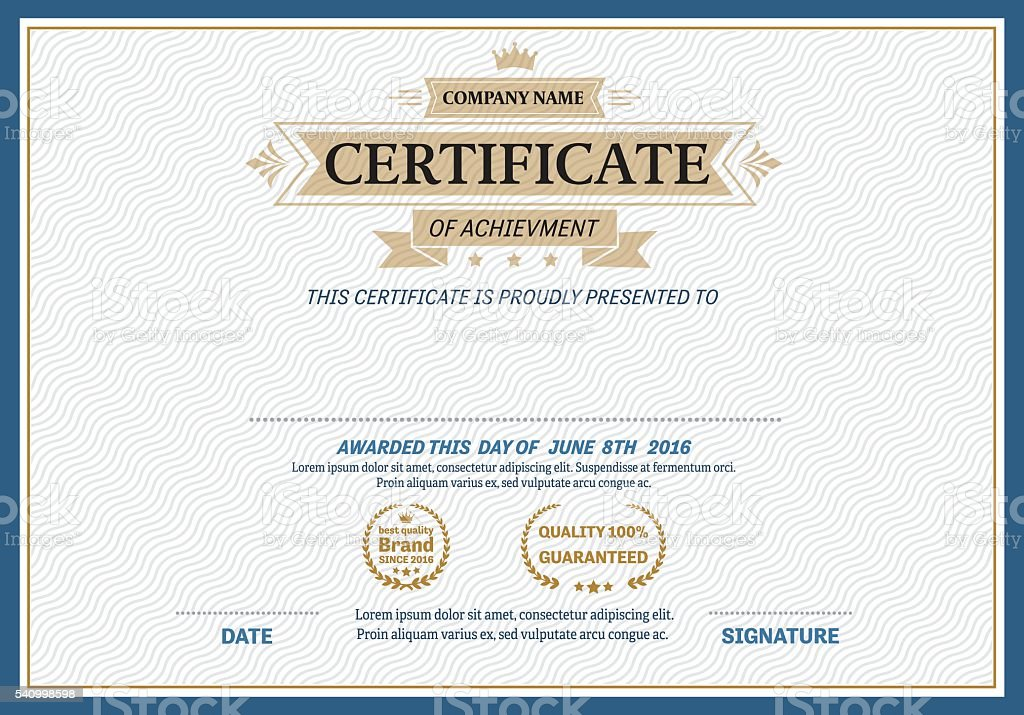 Gold Ribbon Certificate Diploma Template Vector Illustration Stock