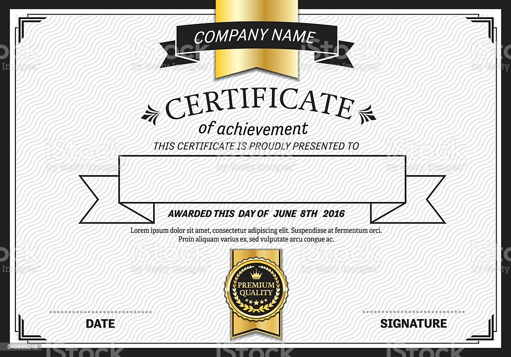 Gold ribbon design certificate diploma template vector gold ribbon design certificate diploma template vector illustration royalty free stock vector art yadclub Image collections