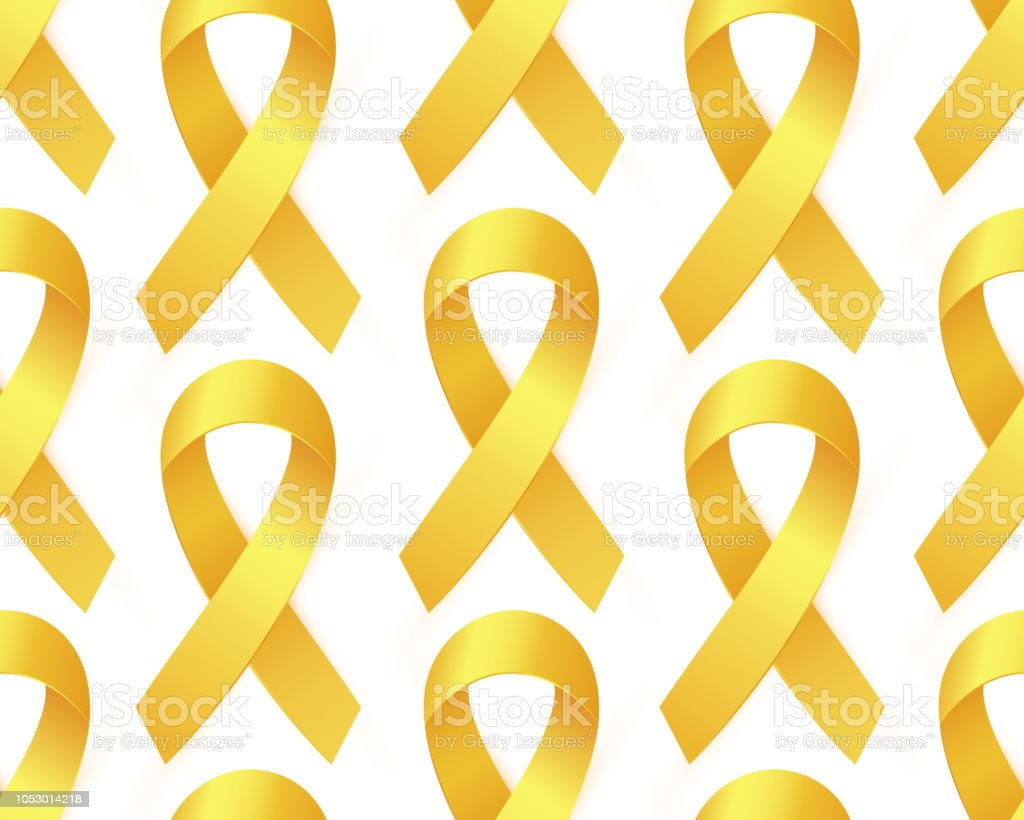 gold ribbon to childhood cancer awareness month yellow ribbon stock