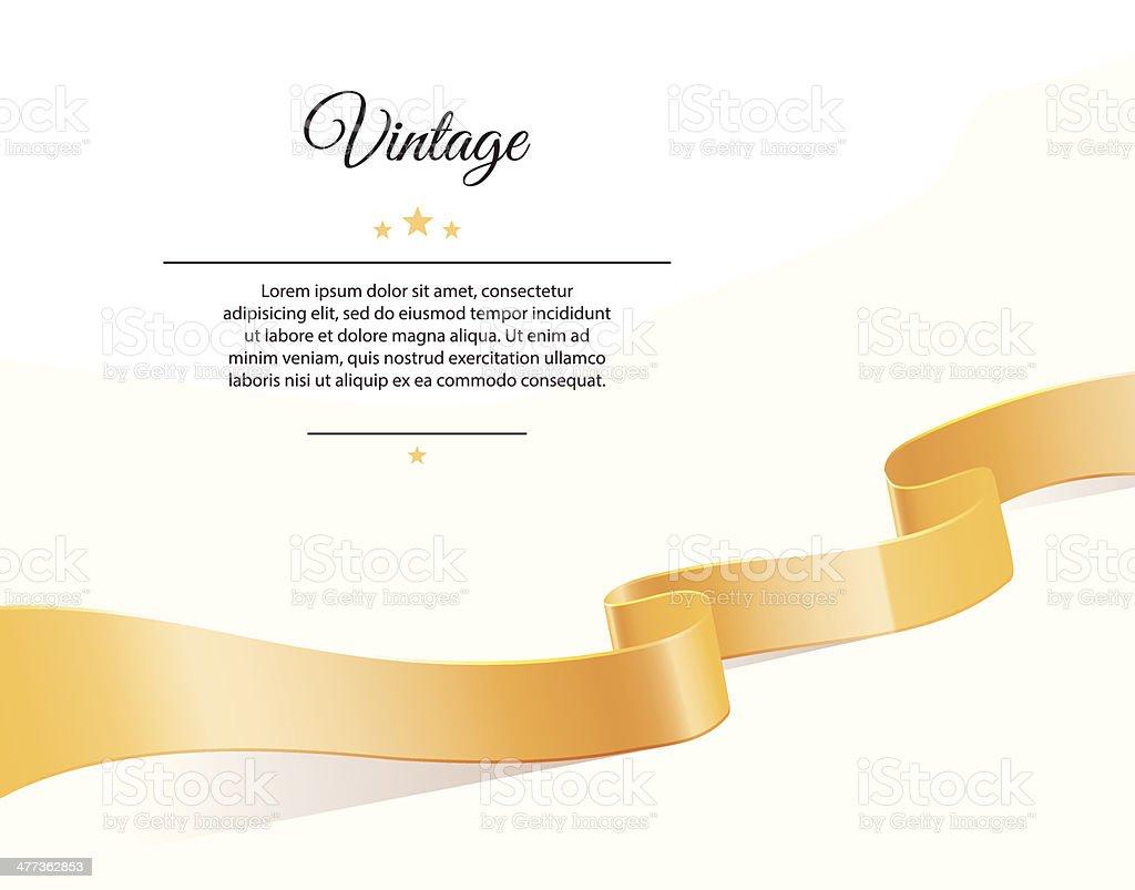 Gold ribbon vector art illustration