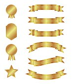 Set of golden ribbons and badges. Vector, isolated objects on a white background