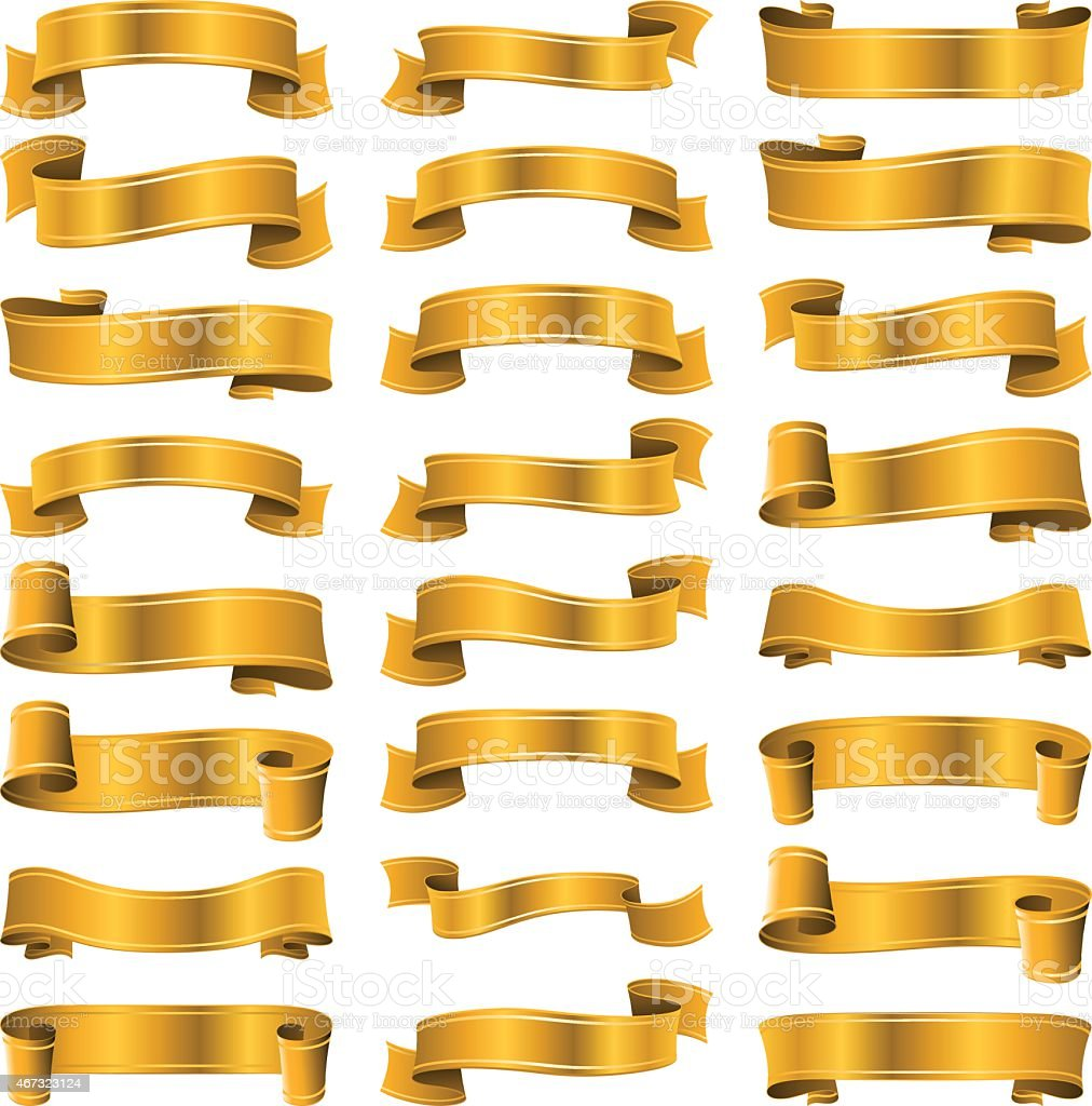 Gold ribbons banner vector art illustration