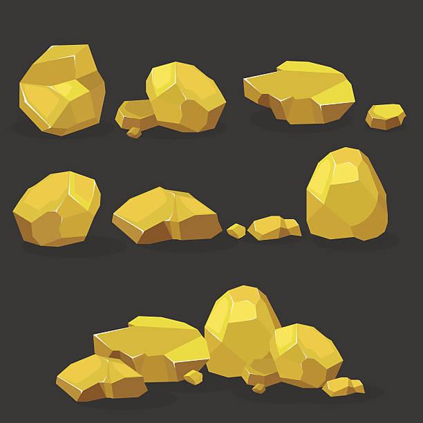 gold rock,nugget set. stones single or piled for damage - mineral stock-grafiken, -clipart, -cartoons und -symbole