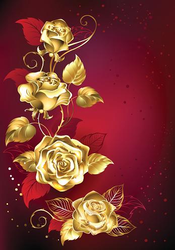 Rosa de oro sobre fondo rojo