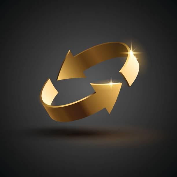 Gold rotation arrows vector art illustration