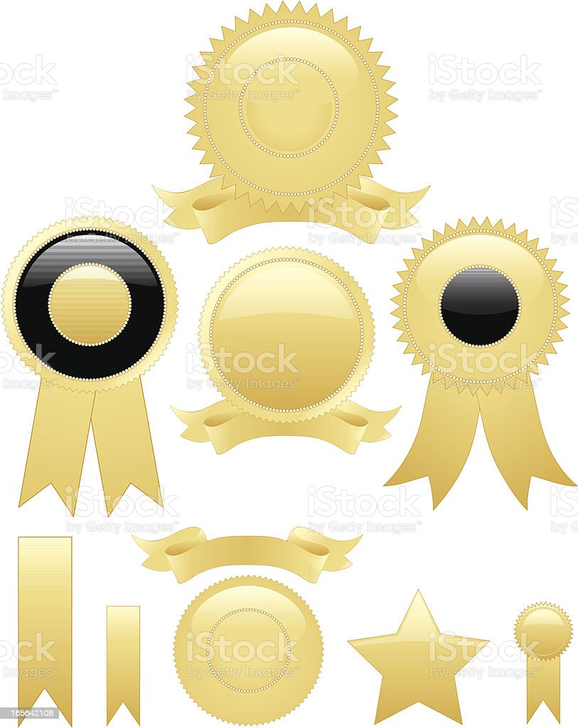 Gold Round Seals, Stickers Set with Optional Ribbons royalty-free gold round seals stickers set with optional ribbons stock vector art & more images of award