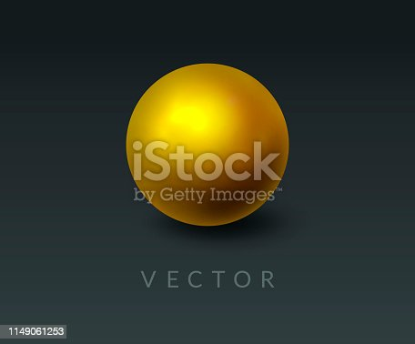 Gold round sphere and 3d ball. Realistic golden orb on abstract dark background. Design element for a luxury brand ad, for cosmetic logo, jewelry, beauty or cosmetic products background. Vector