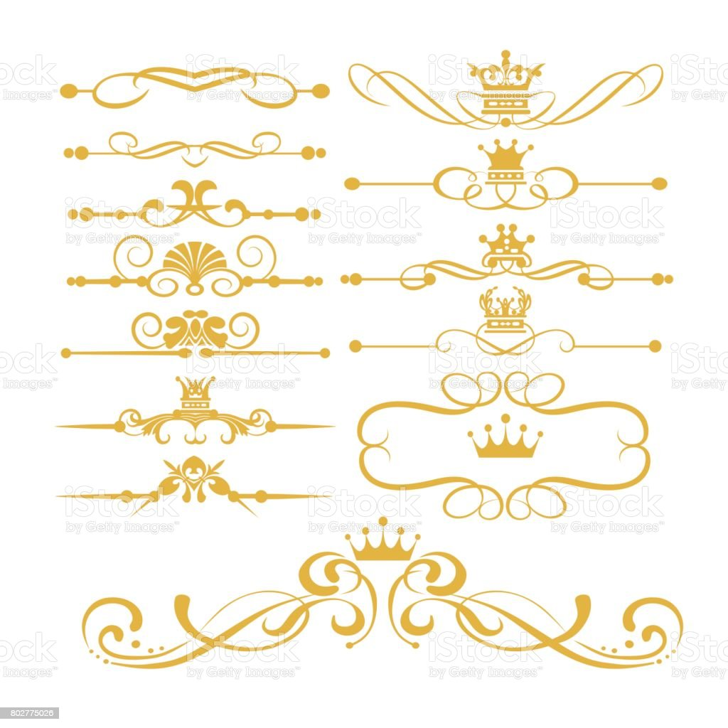 Gold royal borders and swirls vector art illustration