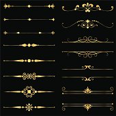 AI EPS 8. Set of vector text dividers in gold.  File is layered, and each element is grouped separately for easy editing.  Colors are just a few global swatches, so elements can be recolored easily.