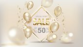 Gold sale balloons background store banners, advertising, shopping. Logo, logotype, sign, symbol. Sale text balloons, selling web banner header