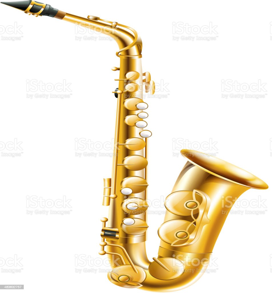 Gold saxophone royalty-free stock vector art