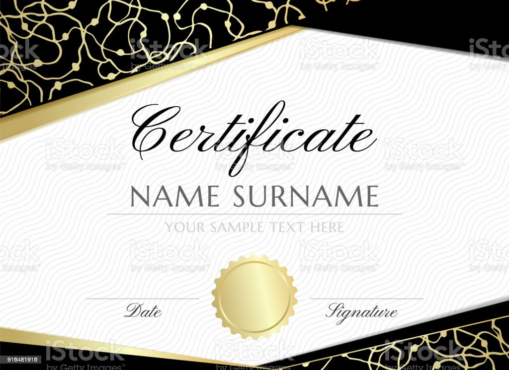 Gold Scribbles Certificate Design Template Stock Vector Art More