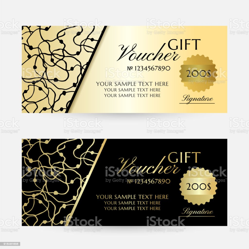 Gold Scribbles Gift Vouchers Template Collection Stock Vector Art
