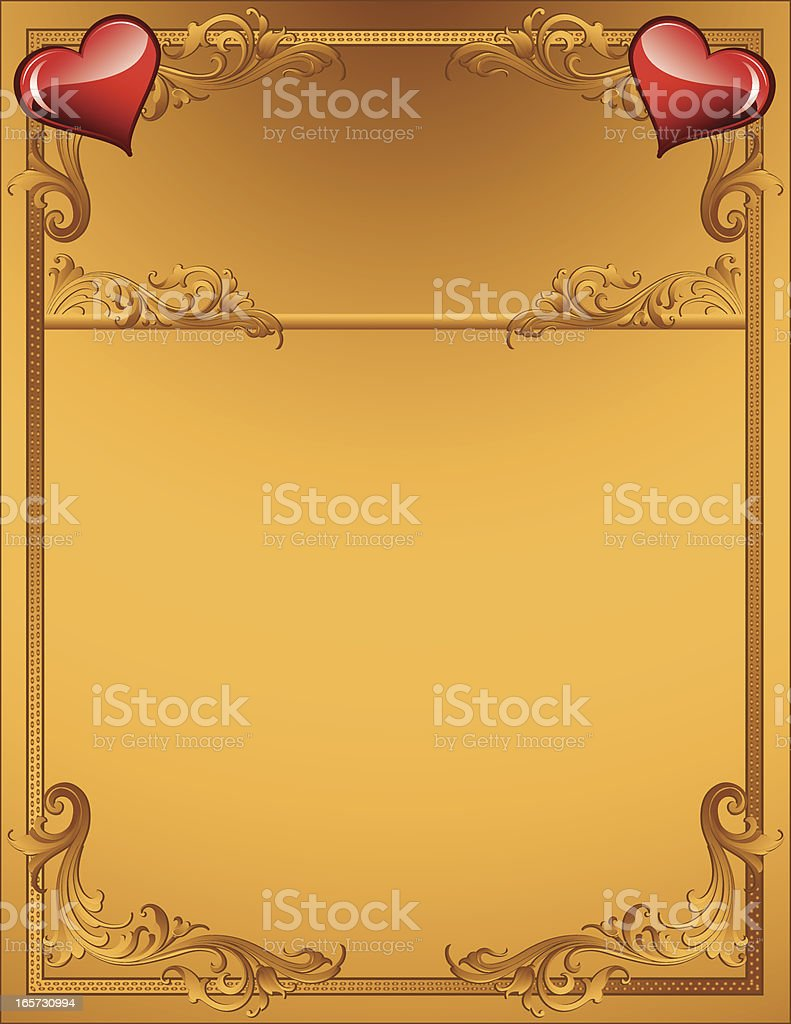 Gold Scrollwork and Hearts royalty-free stock vector art