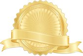Classic shiny gold seal, meal, sticker with OPTIONAL ribbon.