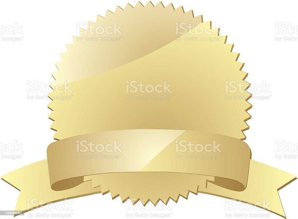 Gold seal with  banner royalty-free gold seal with banner stock vector art & more images of award