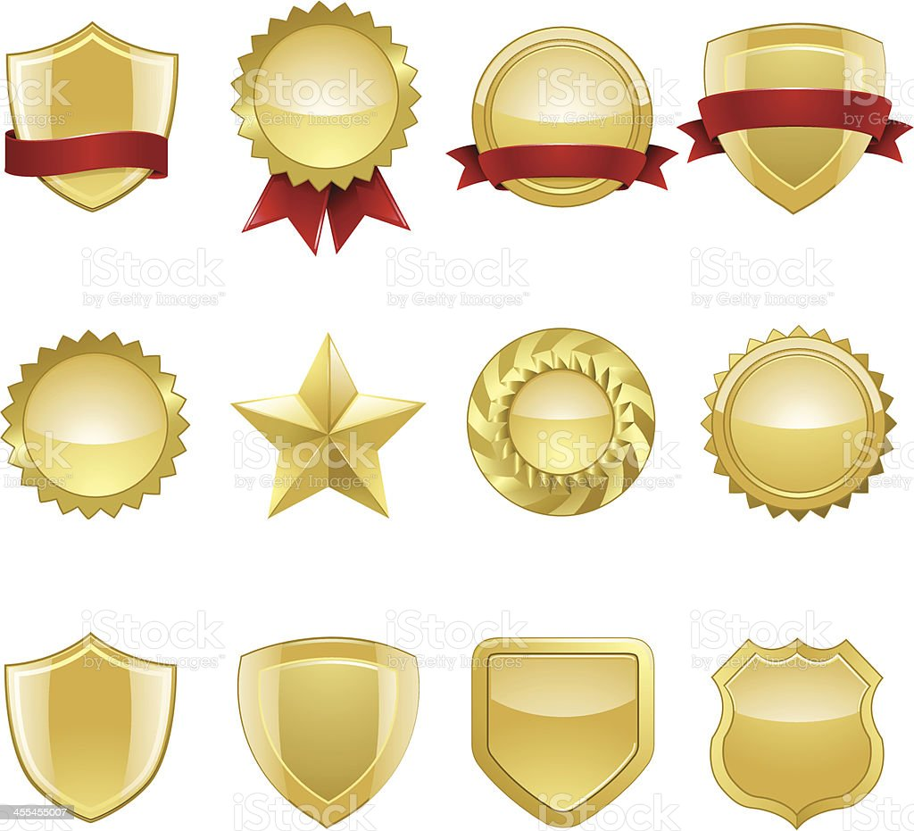 Gold Seals and Badges vector art illustration
