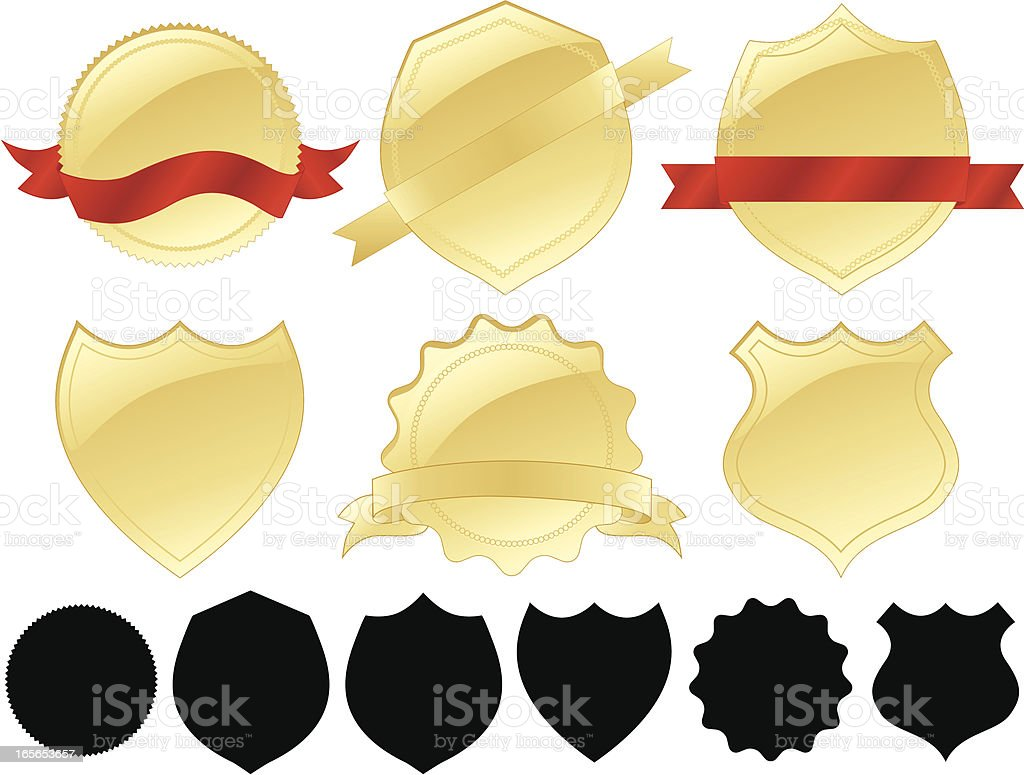 Gold Seals, Medals, Shields, Ribbons Design Elements Set royalty-free gold seals medals shields ribbons design elements set stock vector art & more images of award