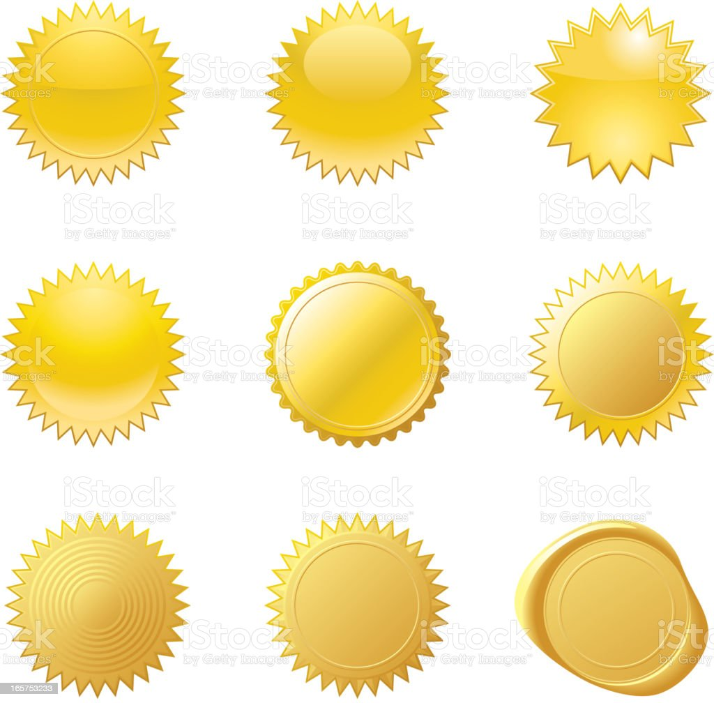 Gold Seals vector art illustration