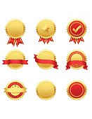 Collection of gold/red seals. Global colors