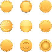 Set of 9 realistic gold seals in Vector. Used Global color for easy editing.