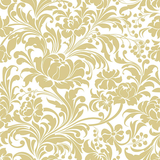 Gold seamless floral vector background - Illustration vectorielle