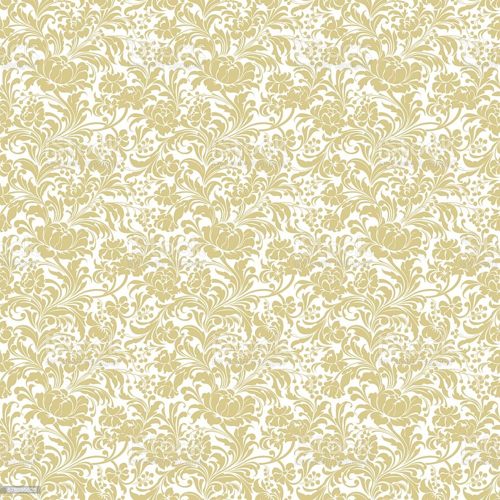 Gold Seamless Floral Vector Background Stock Vector Art