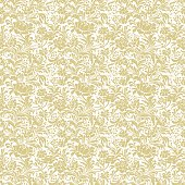 Pale gold seamless floral vector background. 3/3 sections.