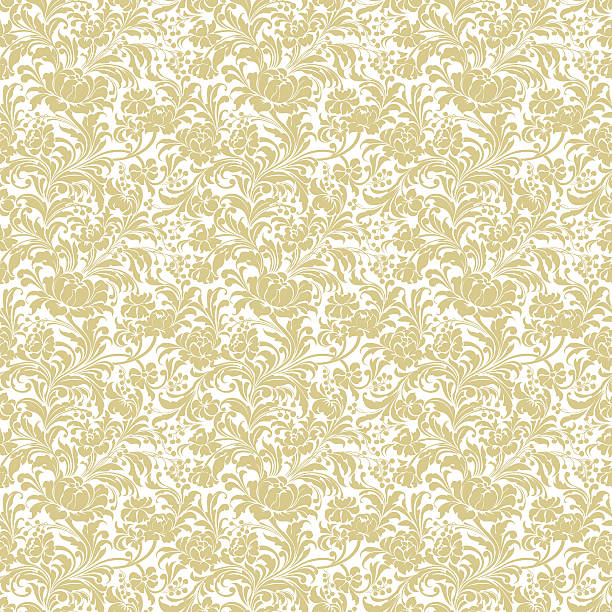 Gold seamless floral vector background ベクターアートイラスト