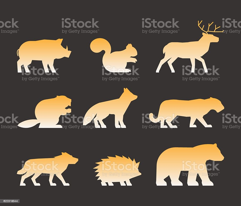 Gold set of figures of wild animals vector art illustration
