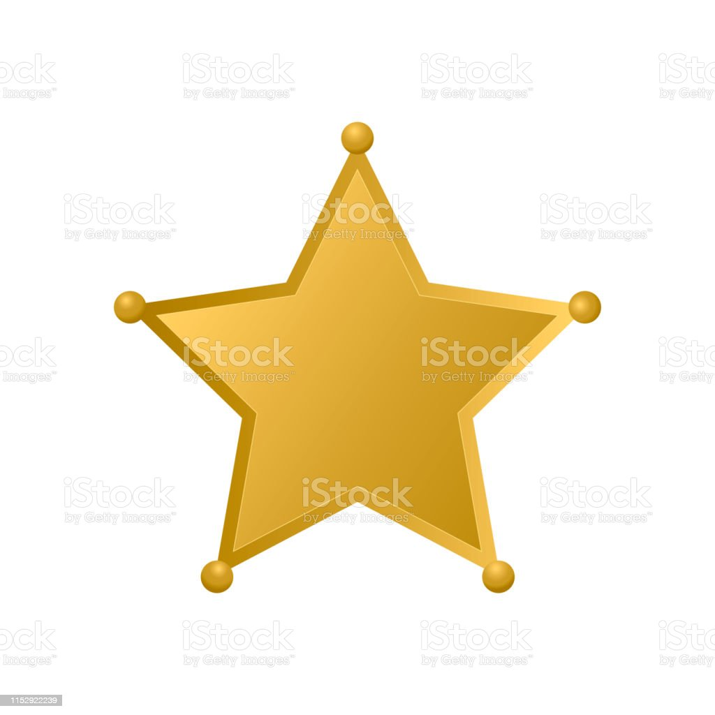Gold Sheriff star isolated on white background. Police badge vector...