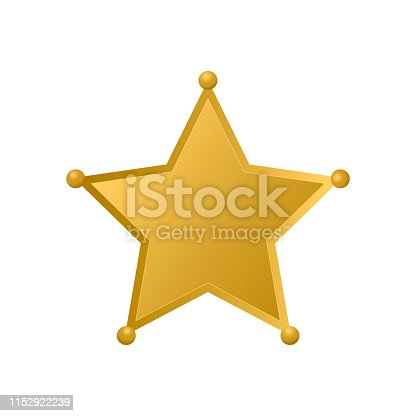Gold Sheriff star isolated on white background. Police badge vector icon. Golden pentagonal star. Easy to edit template for your design.