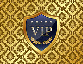 VIP gold shield with a laurel wreath on a luxury damask background.