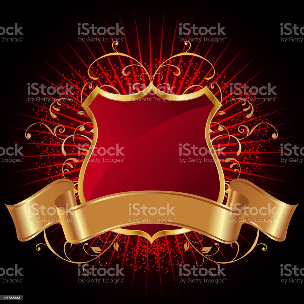 Gold Shield with Banner royalty-free stock vector art