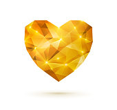 Gold shining polygonal heart isolated on white background. Vector illustration. Valentine's Day graphic element