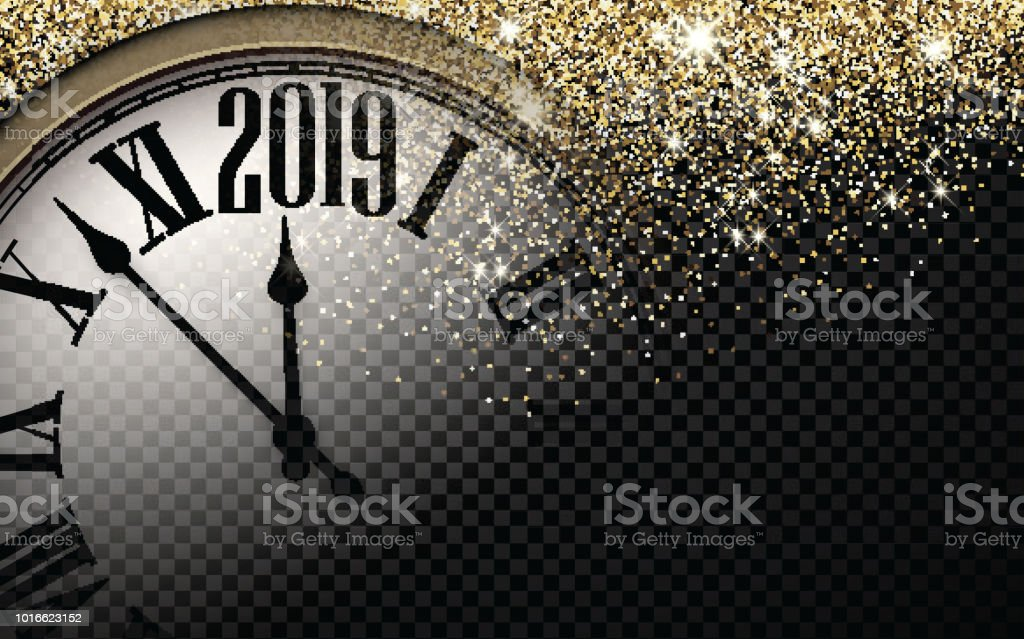 Gold shiny 2019 New Year background with clock. vector art illustration