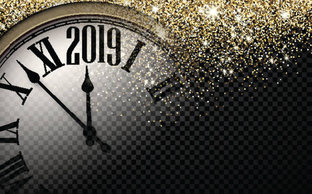 gold shiny 2019 new year background with clock. - new years eve stock illustrations, clip art, cartoons, & icons