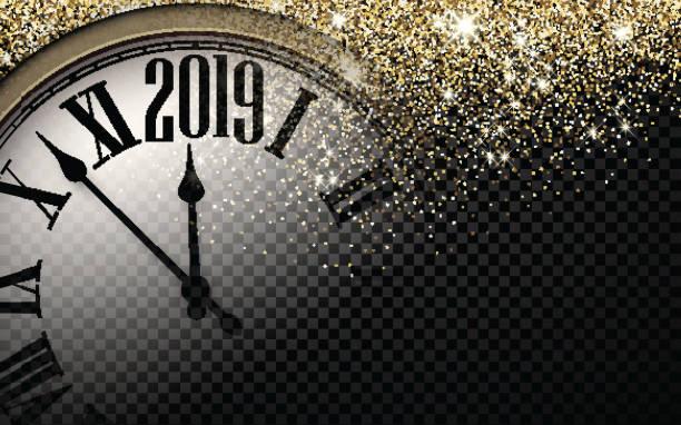 金ピカピカ 2019年新年背景・ クロック。 - 大晦日点のイラスト素材/クリップアート素材/マンガ素材/アイコン素材