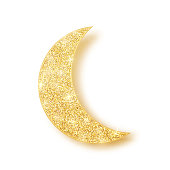 Gold shiny glitter glowing half moon with shadow isolated on white background. Crescent Islamic for Ramadan Kareem design element. Vector illustration.