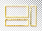 Gold shiny glowing frame set . Vector Gold banners with a place for inscriptions isolated on transparent background. Golden luxury. Realistic 3D design. Vector object 10 eps