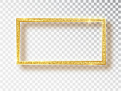 Gold shiny glowing frame. Vector Gold banners with a place for inscriptions isolated on transparent background. Golden luxury. Realistic 3D design. Vector object 10 eps