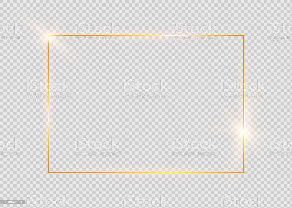 Gold shiny glowing vintage frame with shadows isolated on transparent background. Golden luxury realistic rectangle border. - Royalty-free Abstrato arte vetorial