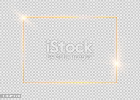 istock Gold shiny glowing vintage frame with shadows isolated on transparent background. Golden luxury realistic rectangle border. 1130429380