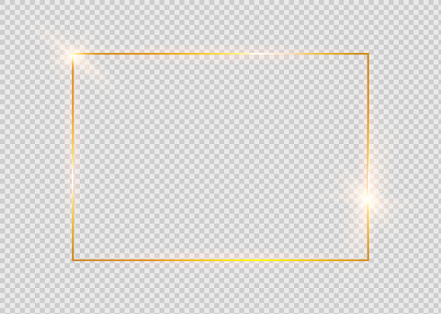 Gold Shiny Glowing Vintage Frame With Shadows Isolated On Transparent Background Golden Luxury Realistic Rectangle Border - Arte vetorial de stock e mais imagens de Abstrato